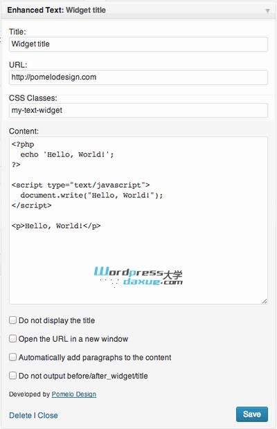 WordPress超级文本小工具:Enhanced Text Widget